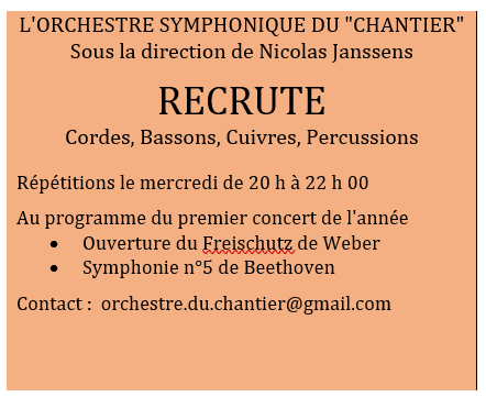Recrutons Cordes, Bassons, Cuivres, Percussions