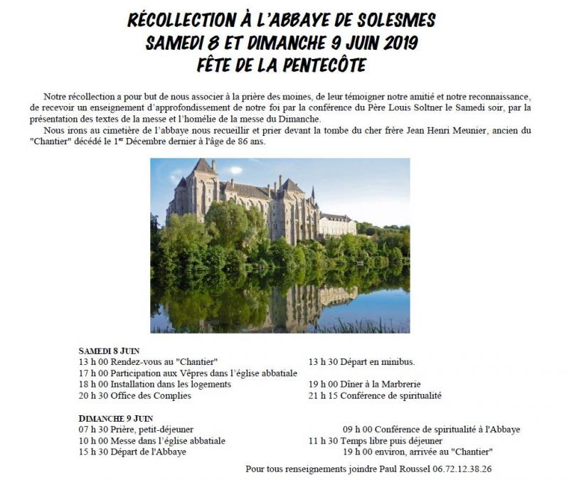 Récollection à Solesmes